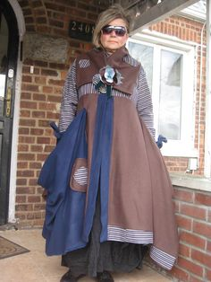 Upcycled Lagenlook Steampunk  Asymmetrical brown/blue coat/jacket