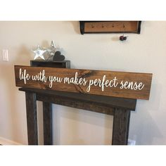 Rustic Wood Sign Life With You Makes Perfect Sense 7.5'x42 Home Decor... ($58) ❤ liked on Polyvore featuring home, home decor, home & living, home décor, red, wall décor, red home decor, rustic wood signs and rustic wood home decor