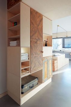 Living in a shoebox     Hotel room with a lot of clever storage solutions and salvaged materials