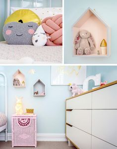 Sweet pink and blue room with gold and white accents.  Little Spaces - Georgia's Room | Little Gatherer