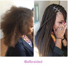 Medium sized box braid on a curly natural hair. Hair used xpression braiding hair colour 8 ( brown ) - allbraided