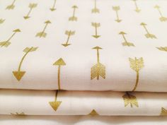 Gold Arrow Fabric, White & Metallic Gold Pattern Stripes for Crafts by the Fat Quarter, Half Yard or Yard by KurthHomeStudio on Etsy https://www.etsy.com/listing/239826426/gold-arrow-fabric-white-metallic-gold