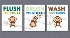 Cartoon Monkey Signs for Childrens Bathroom   by DesignsMadeSimple, $8.00