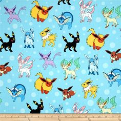 Kaufman Pokemon Collage Aqua from @fabricdotcom  Licensed by Nintendo for Robert Kaufman, this cotton print fabric is perfect for quilting, apparel and home decor accents. Colors include blue, yellow, red, grey, and black.