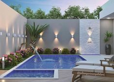 Recycle, Reuse and Reduce: Gardens with small pools - Piscina Small Swimming Pools, Small Pools, Swimming Pools Backyard, Swimming Pool Designs, Backyard Pool Landscaping, Backyard Pool Designs, Small Backyard Landscaping, Landscaping Ideas, Backyard Ideas