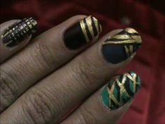 Golden Matt Magic Nails- easy nail art for short nails- nail art tutorial- beginners nail designs