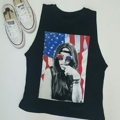 American Flag graphic muscle tank Super cute! Looks adorable with red bralette. No piling, stains or tears. Like new. Tops Muscle Tees