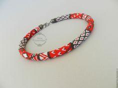 """Купить Жгут """"Красный в сером"""" - жгут из бисера, украшение из бисера, 8 марта, подарок, украшение"""