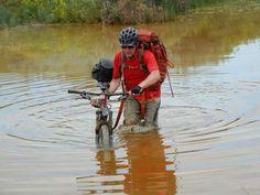 Crossing a beaver pond on the Maah-Daah-Hey trail, ND
