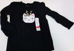 NWT Graphic Shirt Reindeer Cat Top Black Girls sz 4T Jumping Beans  #JumpingBeans #EverydayHoliday
