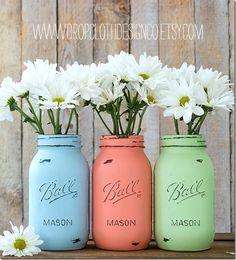 pastel-painted-mason-jar-vases-wedding-shower-centerpieces  4