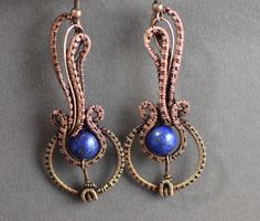 Musical earrings wire wrapped lapis lazuli royal by OrioleStudio