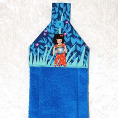 Hanging Hand Towel • Bath Towel • Children's Hand Towel • Blue Towel • Kids Bathroom Towel • Glamping Decor • Childrens Gift • FREE SHIPPING