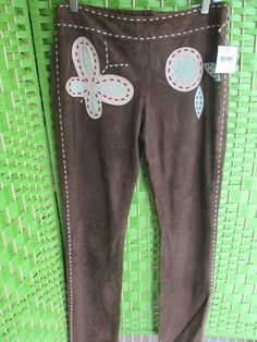MOSCHINO suede pants w/ funky flowers SZ 42 (US 8) New w/ Tags Festival Couture #Moschino #Leather