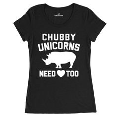 Chubby Unicorns Need Love Too Black Women's T-shirt | Sarcastic Me