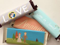 Customized chocolate car wrappers (originally from Posh Paper Weddings)