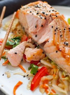 Green Tea Marinated Salmon  with Asian Slaw-50 Salmon Recipes to Make for Breakfast, Lunch and Dinner via @PureWow