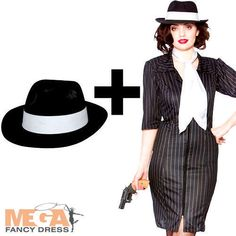 Gangster Gal   Hat Ladies Fancy Dress Mafia 1920s Womens
