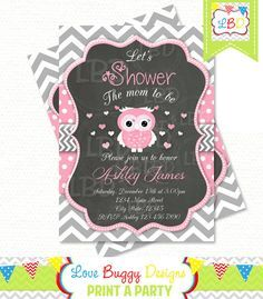 Owl Baby Shower Invitation Chevron and Polka by lovebuggydesigns