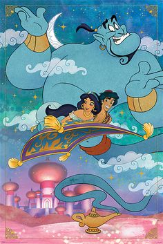 A fantastic poster from the classic Disney movie Aladdin! It'll turn your room into A Whole New World! Published in Fully licensed. Need Poster Mounts. Posters Disney Vintage, Retro Disney, Comics Vintage, Vintage Cartoons, Disney Movie Posters, Cartoon Posters, Old Disney, Disney Art, Disney Pixar
