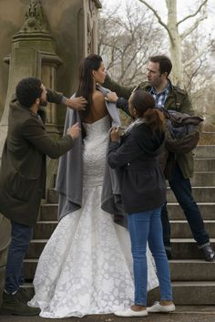 """Behind the Scenes at the Amsale Fall 2015 shoot with the """"Aida"""" dress - corset bodice fit to flare gown in silk floral jacquard - in Central Park in New York City."""