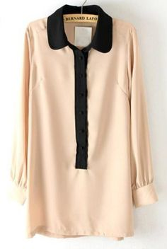Khaki Contrast Lapel Long Sleeve Chiffon Blouse $30.16 @SheInside