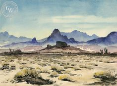 The Desert, California art by Lee Blair. HD giclee art prints for sale at CaliforniaWaterco. - original California paintings, & premium giclee prints for sale Landscape Model, Landscape Sketch, Landscape Illustration, Landscape Art, Arches Watercolor Paper, Art Watercolor, Watercolor Landscape Paintings, Abstract Paintings, Oil Paintings
