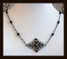 B L Y T H E ::: A Handmade Gothic Choker Necklace in Black & Gunmetal by Blood Flowers http://bloodflowersjewelry.storenvy.com/