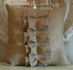 Burlap Ruffle pillow cover. $33.00, via Etsy.