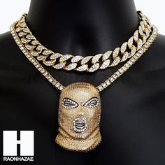 """Only Pendant : Goon Pendant. 16mm Iced Out Miami Cuban 16"""" Choker Chain. Pendant w/ 16mm 16"""" Cuban Chain Necklace. All Of Them : Pendant w/ 2 Chains 5mm 18"""" One Row & 16"""" Cuban Set. Only Tennis Chain (1pc): 5mm 18"""" One Row Chain. 