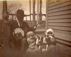C231 RARE Vtg Photo BANJO Player Pit Bull Dog, Boston Terrier, pets MA c 1887
