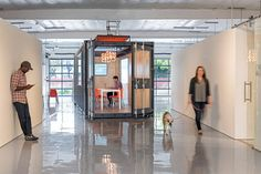 CHA:COL creates tech incubator space in California Shipping Container Office, Shipping Container Design, Shipping Containers For Sale, Corporate Office Design, Corporate Interiors, Office Interiors, Container Buildings, Container Architecture, Container Houses
