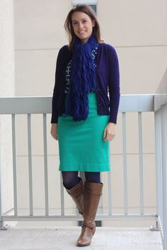 navy cardigan, teal pencil skirt, patterned blouse, and scarf with cognac boots - wear to work, office - www.fashionablyemployed.com