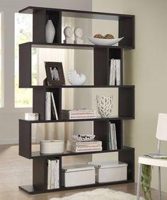 Dark Brown Goodwin Five-Level Modern Bookshelf.....use wide book shelves to create a reading corner...