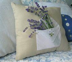 Handkerchief pocket pillow with fresh lavender.