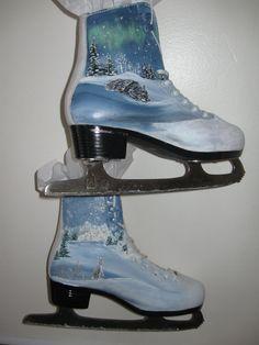 Ice Skates upcycled and handpainted by HandmadesbyJ on Etsy, $45.00