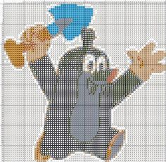 krtek s lopatkou Cross Stitch Charts, Diy And Crafts, Crosses, Cross Stitch, Projects, Breien, Punch Needle Patterns, Counted Cross Stitches