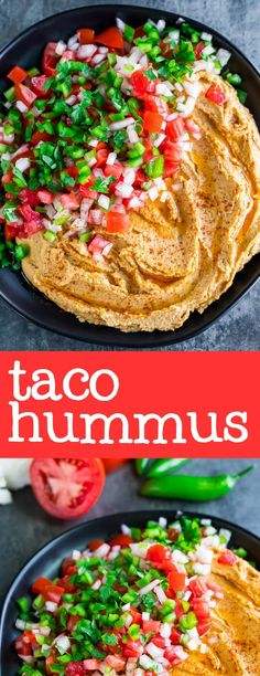 This tasty taco hummus is a party on a plate It makes a fun party appetizer to share with friends or a great snack for the family to faceplant into after school work hummus chickpeas tacos appetizer snack partyfood glutenfree vegetairan vegan Vegan Appetizers, Vegan Snacks, Appetizers For Party, Appetizer Recipes, Healthy Snacks, Dinner Recipes, Paleo Vegan, Salsa Guacamole, Whole Food Recipes