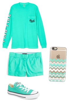 Aqua day 😎 by taylorevans457 on Polyvore featuring polyvore, fashion, style, Victoria's Secret, J.Crew, Converse, Casetify and clothing
