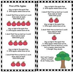 5 Little Apples in an Apple Tree Activities Apple activities: My kiddos LOVE the poem/song 5 Little Apples in an Apple Tree. It's a super-fun way to practice all sorts of literacy & math skills. Lots of ideas & activities here. Preschool Apple Theme, Fall Preschool, Preschool Songs, Preschool Themes, Preschool Lessons, Preschool Apple Activities, Kindergarten Art, Apple Song, Circle Time Songs