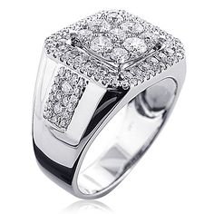 Real Hip Hop Jewelry: This Square Mens Diamond Ring in showcases 3 carats of genuine diamonds and a luxurious polished gold finish for extra shine. This men's diamond ring is available in white, yellow and rose gold. 3ct Diamond Ring, Square Diamond Rings, Diamond Jewelry, Jewelry Rings, Fine Jewelry, Jewellery, Unique Mens Rings, Rings For Men, Stylish Rings