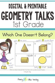This set of number talks is full of GEOMETRY activities that help students think critically about 2-D and 3-D shapes. It's aligned to first grade common core standards and is a sure-fire way to engage your first graders. Just click to pick up your very own set! #firstgrademath #1stgradegeometry #shapes Teaching Geometry, Geometry Activities, Teaching Math, First Grade Classroom, First Grade Math, Math Fact Fluency, Number Talks, Math Talk, Math Word Problems