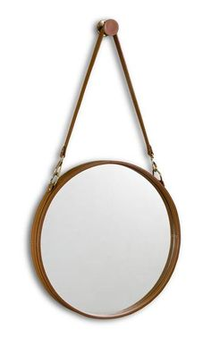 Havana Contemporary Leather Hanging Round Mirror