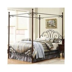 Antique Metal Queen Poster Bed Frame Wrought Iron Canopy Headboard Footboard Set