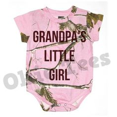 Grandpa's Little Girl - Pink Realtree Camo Infant Bodysuit -Baby Onesie - Creeper. Well I guess if I have a girl one day this would be perfect for camping with grandpa. Camouflage Baby, Baby Outfits, Pink Outfits, Pheonix Marie, Country Babys, Oakley, Camo Baby Stuff, Baby Bodysuit, Baby Onesie