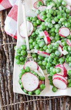 An easy and quick pea salad with fresh radish tossed in a creamy dill dressing is healthy and low calorie. Bring it to a potluck or party. #peasalad #peas #radishes