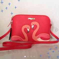 "Kate Spade flamingo crossbody NWT Coral flamingoes grace this orange leather crossbody, gold hardware, 1 interior slip pocket. Approx 8.5""Lx6.5""Hx3""W, 23"" adjustable strap.  PRICE FIRM kate spade Bags Crossbody Bags"