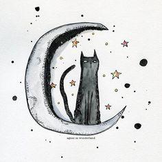 Inky Moon Cat  Original ink and watercolor by AgnesinWonderland