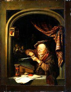 Gerrit Dou: oude man die zijn pen snijdt, ook genoemd: de oude schoolmeester. 1671. Staatliche Kunstsammlungen, Dresden. Een oude man zit achter zijn lessenaar in het raamkozijn. Door zijn pince-nez kijkt hij naar een veer (pen) die hij met een mes bijsnijdt. Op de vensterbank naast een zandloper ligt een verzegeld document. De ouderwetse tabbard en de platte baret wijzen op zijn gevorderde leeftijd, maar kan ook duiden op de afwijzing van wereldse zaken.