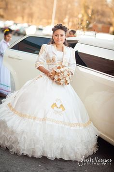 We <3 this stunning white Quinceanera dress with a Ranchera/ Matador theme and white limousine to boot. ツ  \\  Photo Credit: Yvette Vazquez Photography #Quinceaneradress #white #quinceanos